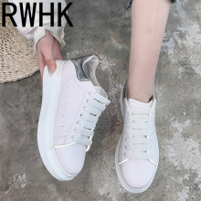 RWHK Small white shoes female 2019 spring female reflective thick bottom increased muffin bottom wild sports casual shoes B386 new autumn female shoes korean thick bottom platform increased single shoe woman muffin bottom lace up student sport shoes white