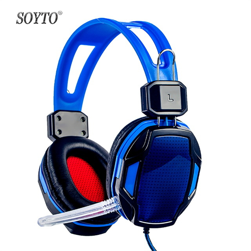 SOYTO SY833MV Professional Computer Over-ear Headset With Mic For Gamer Game Gaming Headphones Volume Control Earphones Freeship 2016 new universal adjustable headphones earphones with volume control for mp3 mp4 computer gamer supper bass earphone