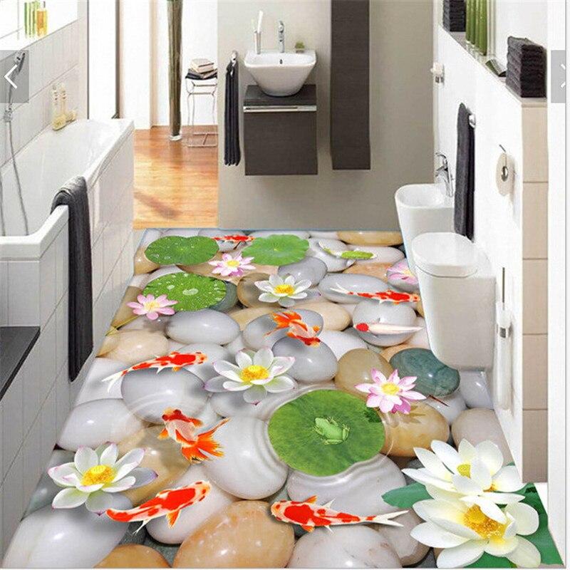 3D Fish pond cartoon flower leaf goldfish lotus bedroom living room Floor toilet wall stickers removable waterproof home decor