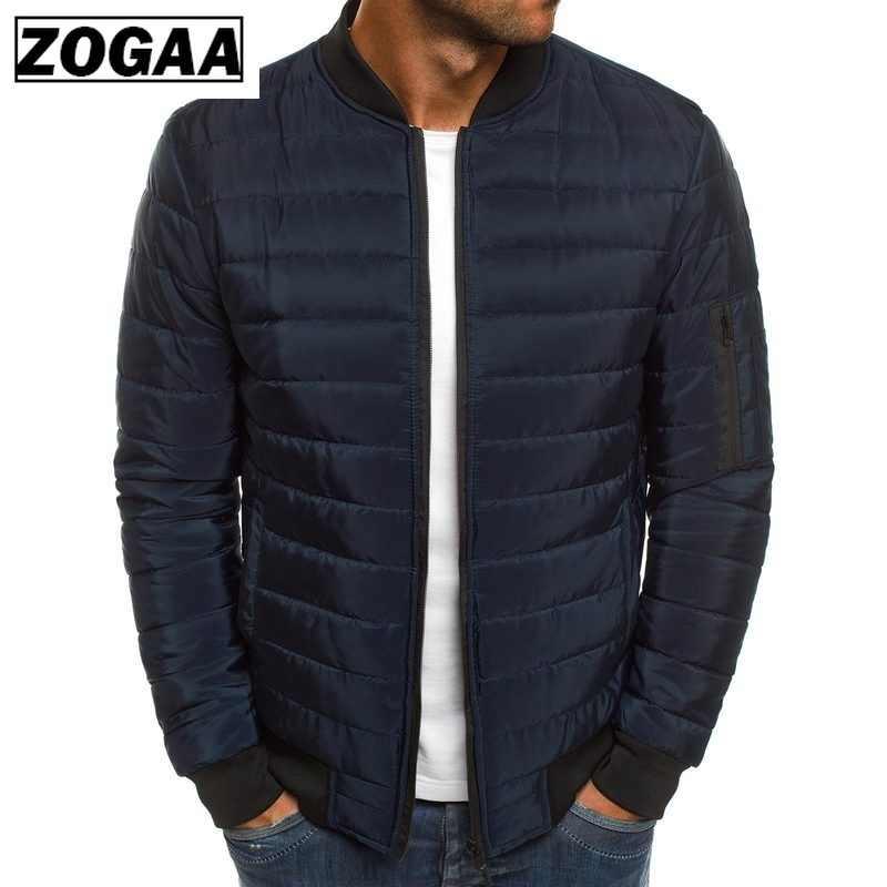 Parka sólida de alta calidad para hombre de invierno chaquetas cálidas Simple dobladillo práctico impermeable cremallera bolsillo cuello chaqueta ZOGAA