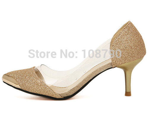 2014 Summer Sexy Gold Mid Heel Pointed Toe Red Bottoms High Heels ...