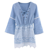 Women Elegant Denim Dress Long Sleeve Hollow Out Lace Patchwork Embroidery Lace Up Casual Sexy Ladies