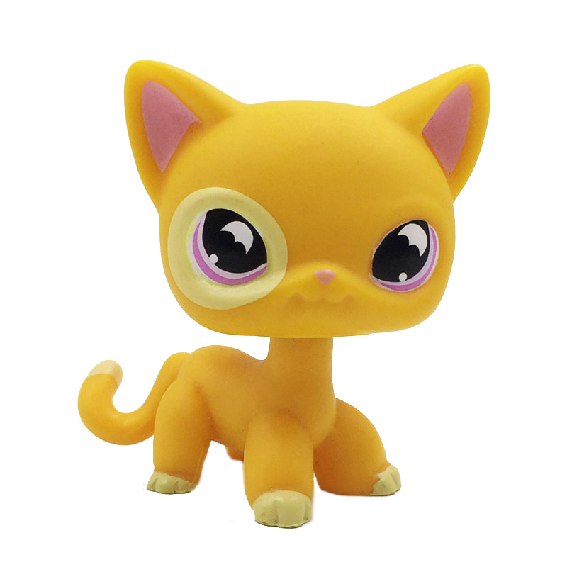 Rare Pet Shop Toys Short Hair Cat #855 Orange Yellow Kitty With Purple Moon Eyes Collection Figures Kids Gifts
