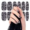 1 hoja de 16 estilos marca tendencia Sexy de encaje negro gótico de Halloween Party regalo DIY del arte del clavo etiqueta engomada del clavo uñas de Gel belleza tatuajes