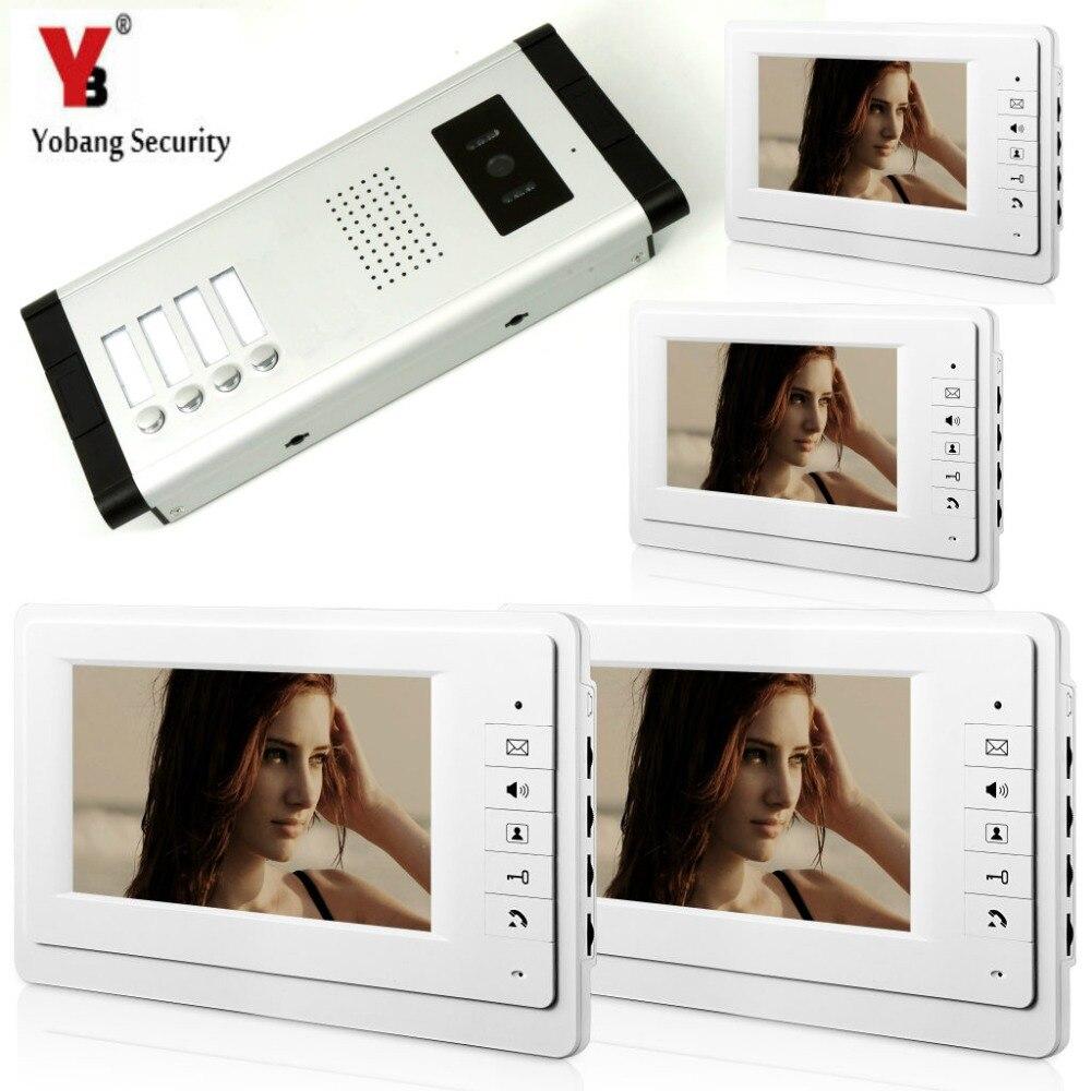YobangSecurity 7 Inch Wired Video Door Phone Visual Intercom Doorbell with 4* Monitor+1* Camera For 4 Units Apartment Intercom yobangsecurity 7 inch wired video door