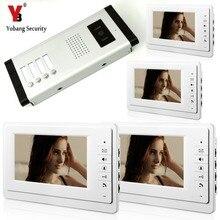 YobangSecurity 7 Дюймов Проводной Видео-Телефон Двери Видео Домофон Дверь с 4 * Монитор + 1 * Камера Для 4 единицы Квартира Домофон