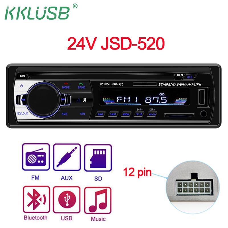 Car Radio Stereo MP3 Player Wireless Bluetooth 4X80W Audio Dual USB 12V 24V