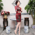 TIC-TEC chinese cheongsam short qipao flower print vintage women tradicional dress oriental dresses party weeding clothes P2894