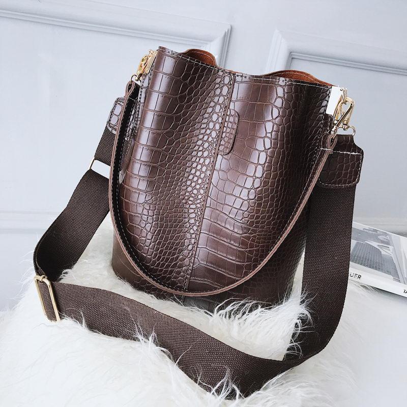 Ansloth Crocodile Crossbody Bag For Women Shoulder Bag Brand Designer Women Bags Luxury PU Leather Bag Bucket Bag Handbag HPS405