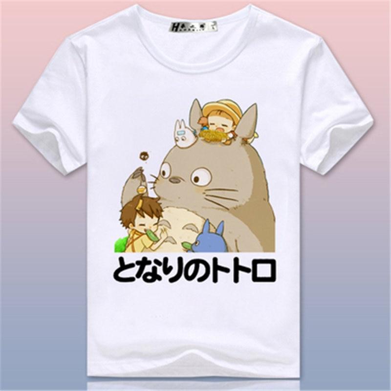 토토로 티셔츠 미야자키 하야오 치히로 퍼터 티셔츠 Anime Cartoon Cat 귀엽고 사랑스러운 프린트 반팔 탑 Tee 가족 셔츠