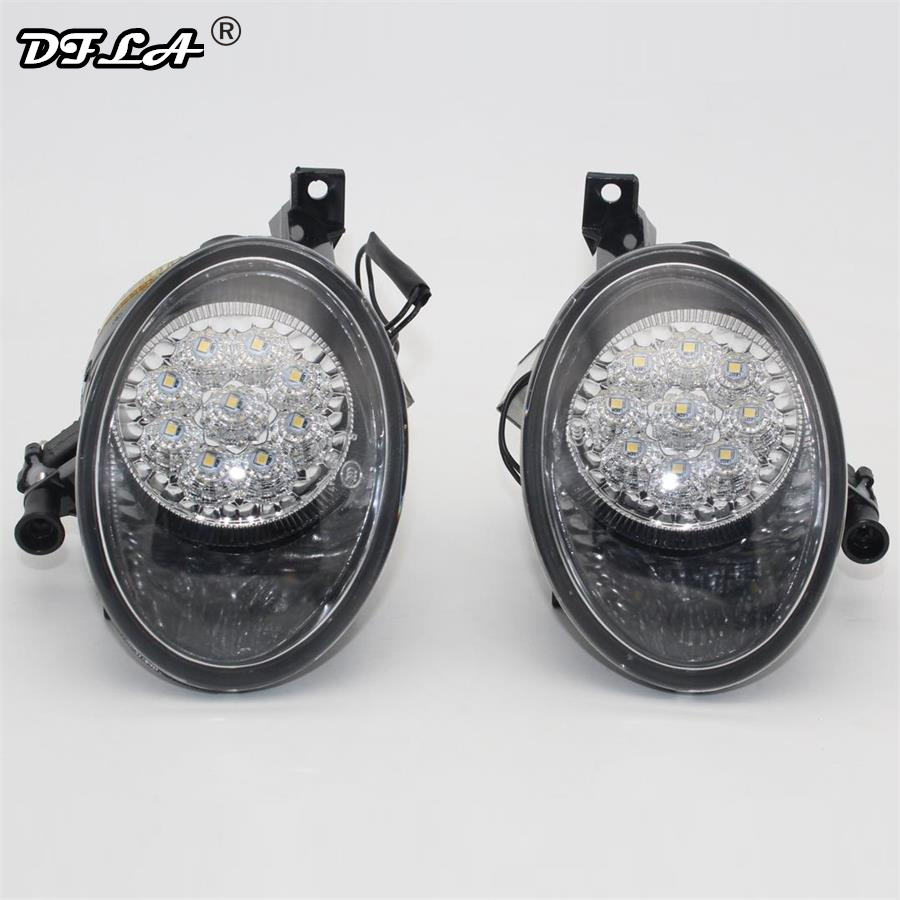 2pcs LED Light For VW Golf 6 Jetta 6 Caddy Touran Tiguan Car-Styling Front 9 LED Fog Lamp Fog Light Without Error 2pcs car styling auto no error under mirror led puddle light lamp for volkswagen vw golf mk6 gti touran 2011 white accessories
