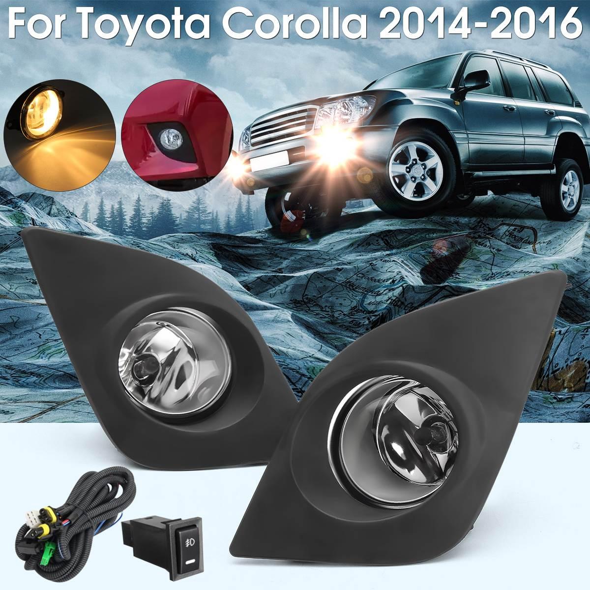 R+L Front Fog Lamp Car Bumper Fog Light W/ H11 Bulbs Wiring Switch Cover For Toyota Corolla 2014 2015 2016 front bumper convex lens fog light for vw touran 1t1 1t2 l 1t0941699 r 1t0941700 foglamps