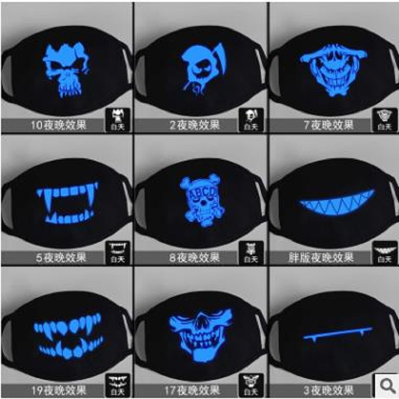 Personality Teeth Blue Fluorescent Luminous Mask Tide Men And Women Creative Warm Breathable Black Cotton Lovers