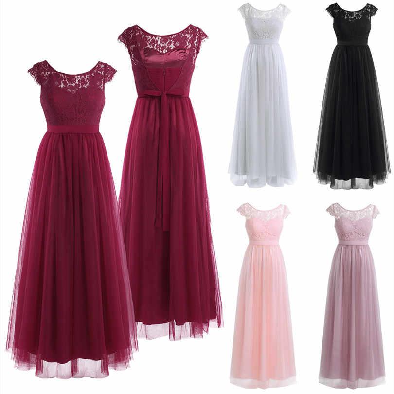 TiaoBug Bordir Wanita perempuan Busur Musim Panas Gaya Pengiriman Cepat Panjang Lengan Ball Gown Prom Chiffon Princess Bridesmaid Dress