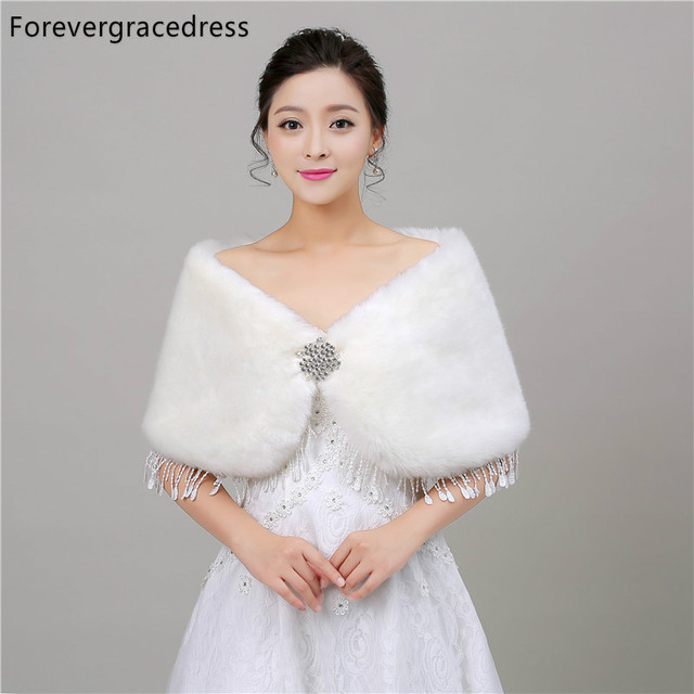 Forevergracedress Real Pictures White Faux Fur Stoles Wedding Wrap Winter Bolero Jacket Bridal Accessories Cape Cloak