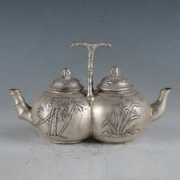 Chinese Silver Copper Handmade Carving Plum Orchid, Bamboo Chrysanthemum Conjoined Teapot Double Teapot The Royal DaQing Statue