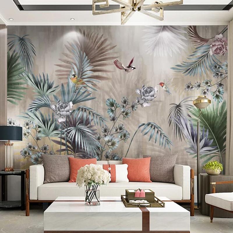 Custom 3D Wallpaper Nordic Style Plant Leaf Retro Photo Wall Mural Living Room TV Sofa Bedroom Backdrop Wall Painting Home Decor