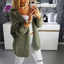 55bd88281 Women s Loose Knitted Sweater Gray Green Long Sleeve Cardigan V Neck  Knitwear Outwear Oversized Long