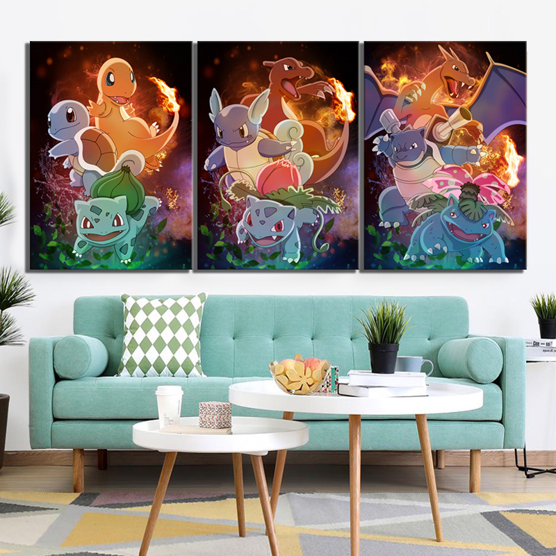3 Piece HD Cartoon Pictures Pokemon Pocket Monster Anime Poster Paintings Canvas Art for Children Room Wall Decor 1