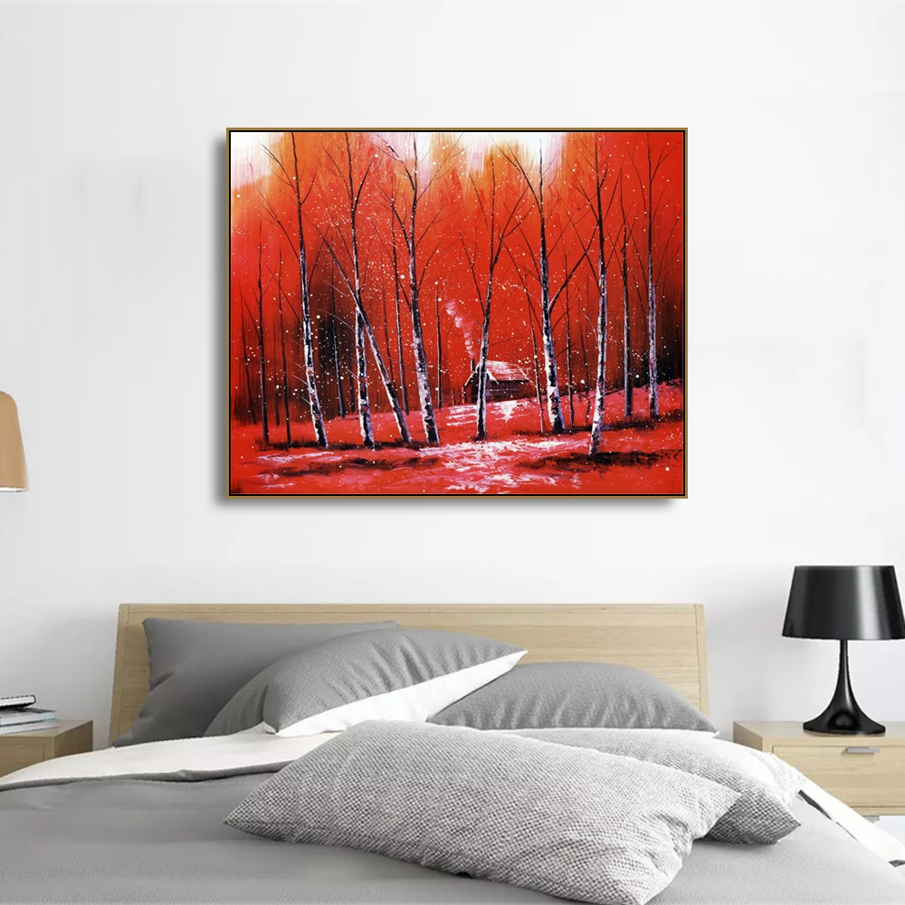 Laeacco Wall Art Fabulous Autumn Red Birch Forest Posters and Prints Canvas Calligraphy Painting Home Living Room Decor