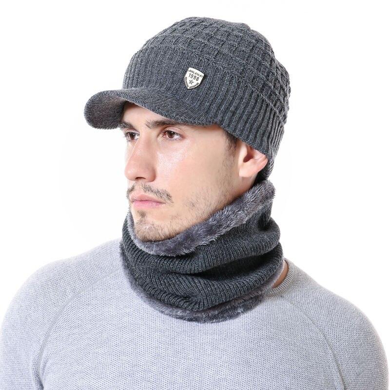 Зимние шапки Skullies, шапки для мужчин и женщин, шерсть, шарф, маска, вязаная шапка, высокое качество, хлопок, 1998