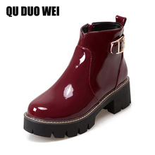QUDUOWEI 2018 Women Short Boots Square High Heel Patent Leather Ankle Boots For Women Solid Platform Buckle Zippers Ladies Shoes