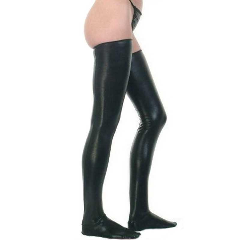 ถุงน่องสตรี Spandex ต้นขา Latex ถุงเท้า Glam Rock โกธิค Wetlook สีดำ