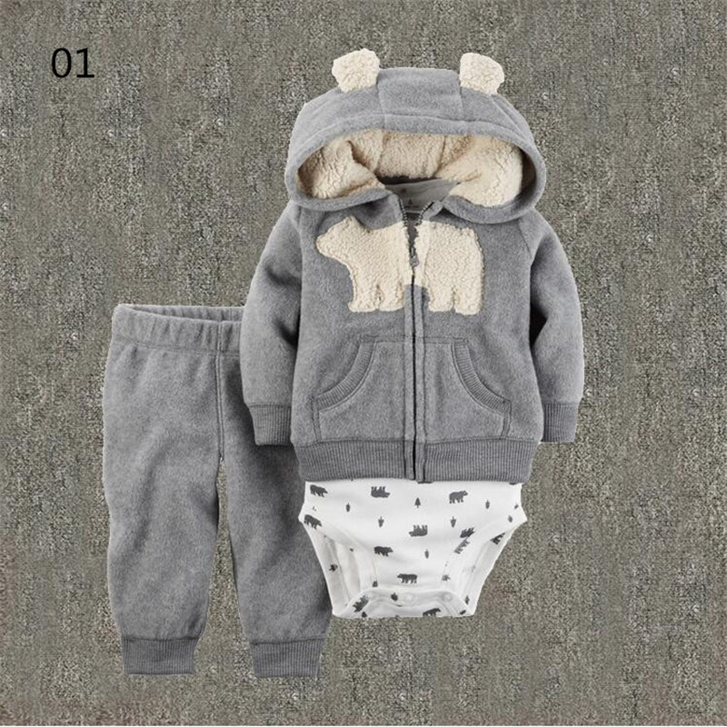 Jumpsuit Pant Baby Clothing-Set Spring-Autumn-Set Kids Hot-Sale Children Coat 3pcs Fleece