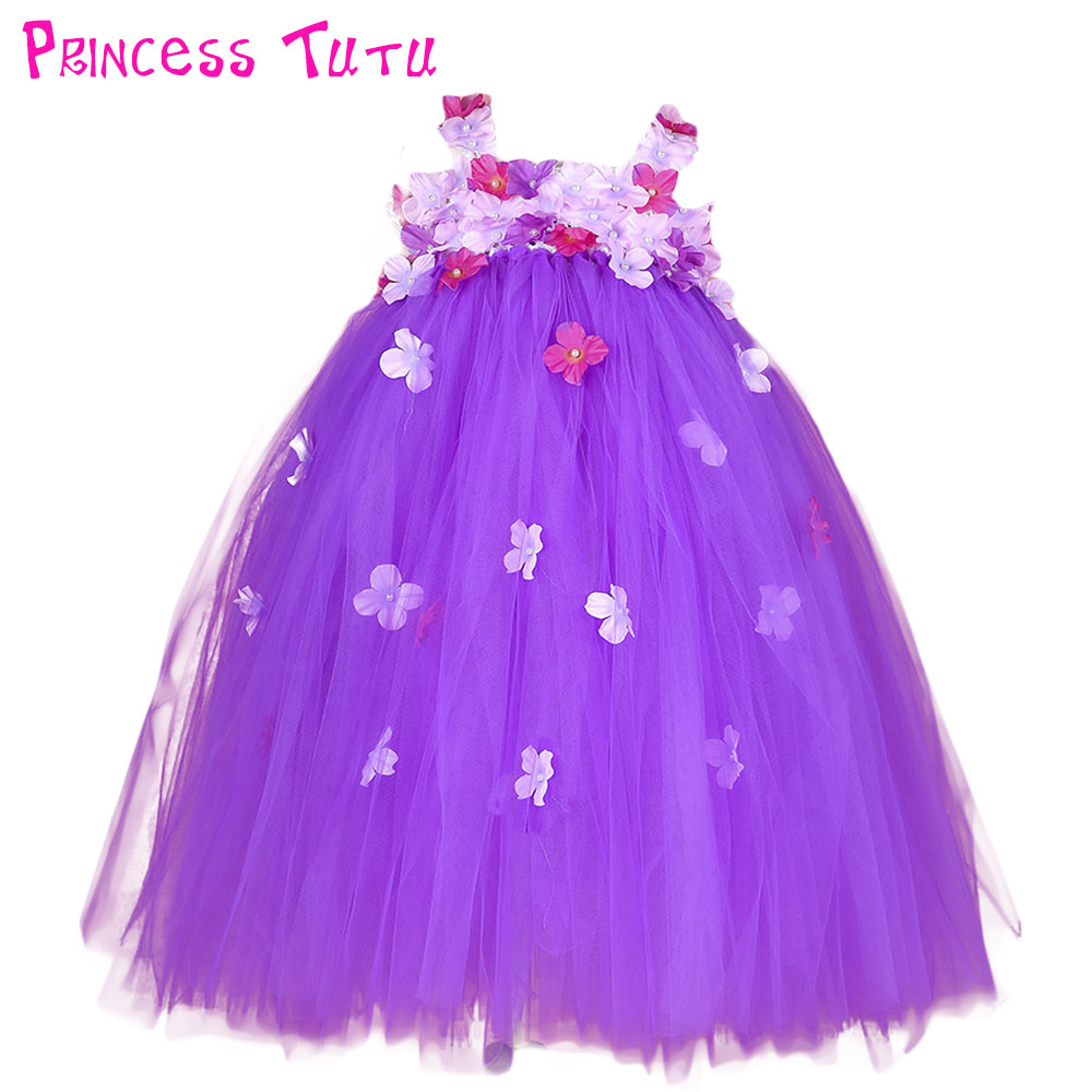 Gorgeous Flower Girl Wedding Tulle Tutu Dress Kids Girl Lace Flowers Ball Gown Bridesmaid Party Pageant Dresses Photo Clothes handmade girls tutu dress flower girl dresses halloween costume children kids tulle dress for pageant party prom photo vestidos