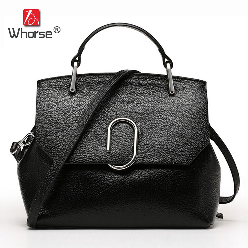 [WHORSE] Brand Luxury Genuine Leather Women Messenger Bags Casual Fashion Ring Ladies Handbag Crossbody Bag For Woman W08040 [whorse] brand luxury fashion designer genuine leather bucket bag women real cowhide handbag messenger bags casual tote w07190
