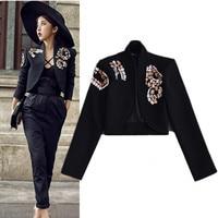 2017 Spring Autumn Women Short Coats Formal Workwear Shiny Diamonds Coats Black Cool Cardigan Feminina Party Outwear Tops NS568