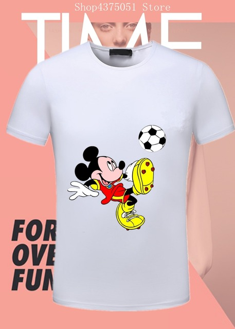 b95ab81703a 2018 Fashion summer hot Designer Mickey Mouse white black gray Mens T-shirt