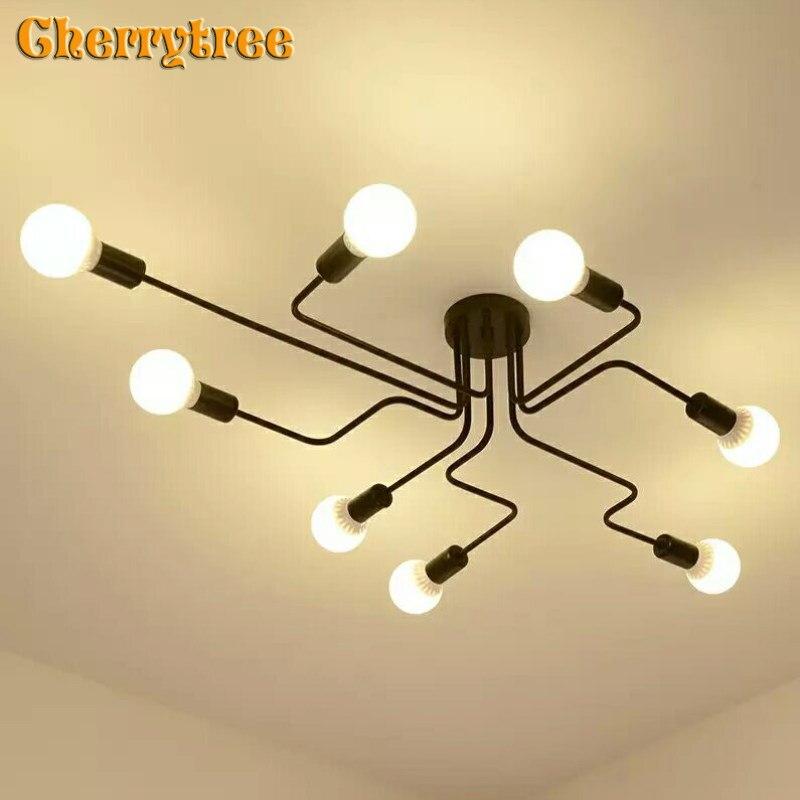 Iluminação lustre Moderno Lustres de Teto Do Diodo Emissor de Luz design nórdico vintage retro preto Hanglamp lâmpada quarto sala E27