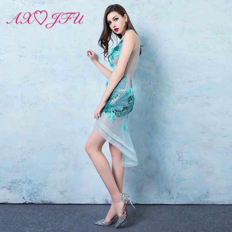 AXJFU сексуальное вечернее платье с v-образным вырезом без рукавов, синее кружевное вечернее платье, винтажное платье принцессы, Пляжное платье с бисером и цветком, синее вечернее платье
