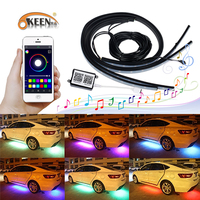 OKEEN 4 x APP Control Underglow Neon Light Kit Under Car Tube RGB Flexible LED Strip Decorative Atmosphere Lamp Underbody System