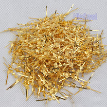 100 pcs Golden bowtie pins connectors crystal prisms of chandelier lamp parts New(China)