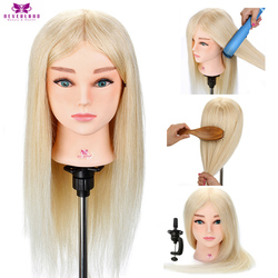 20'' 100% Real Hair Hairdressing Training Head for Barber White Hair Curling Practice Dummy Doll Mannequin Head+ Gift
