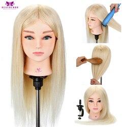 20 ''100% pelo Real cabeza de entrenamiento para peluquería pelo blanco práctica rizador maniquí muñeca CABEZA + regalo