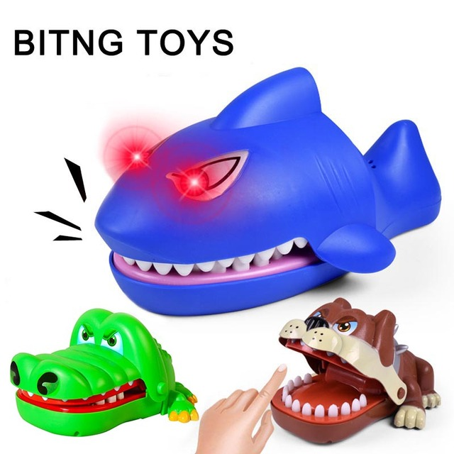 New Joking Funny Cartoon Dog Crocodile Shark Toys Mouth Dentist Bite Finger Novelty Family Game Toy For Kids Children Gift TY