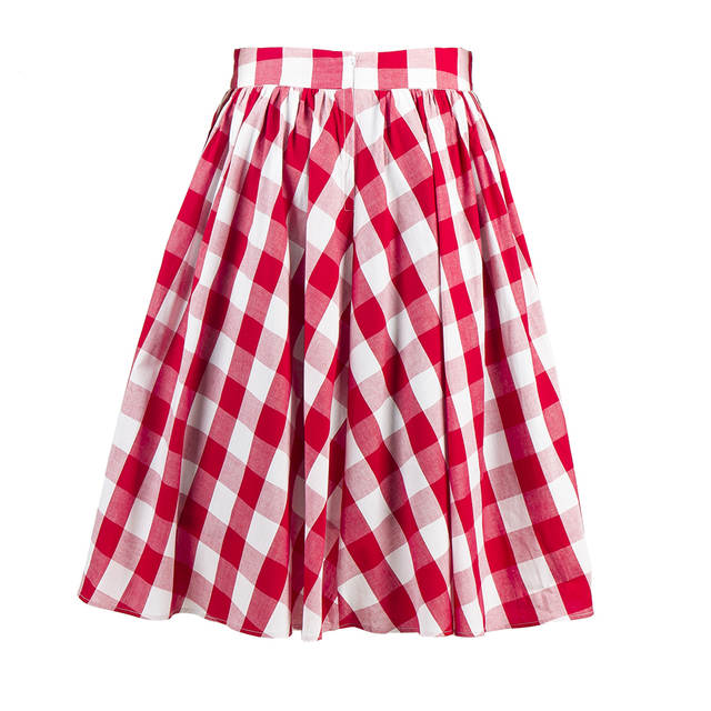 920724f9c366 Online Shop CandowLook Women Retro 50s 60s Circle Swing Red White Plaid  Checked Gingham Skirt Girls Cotton Elegant Knee-Length Saia Faldas