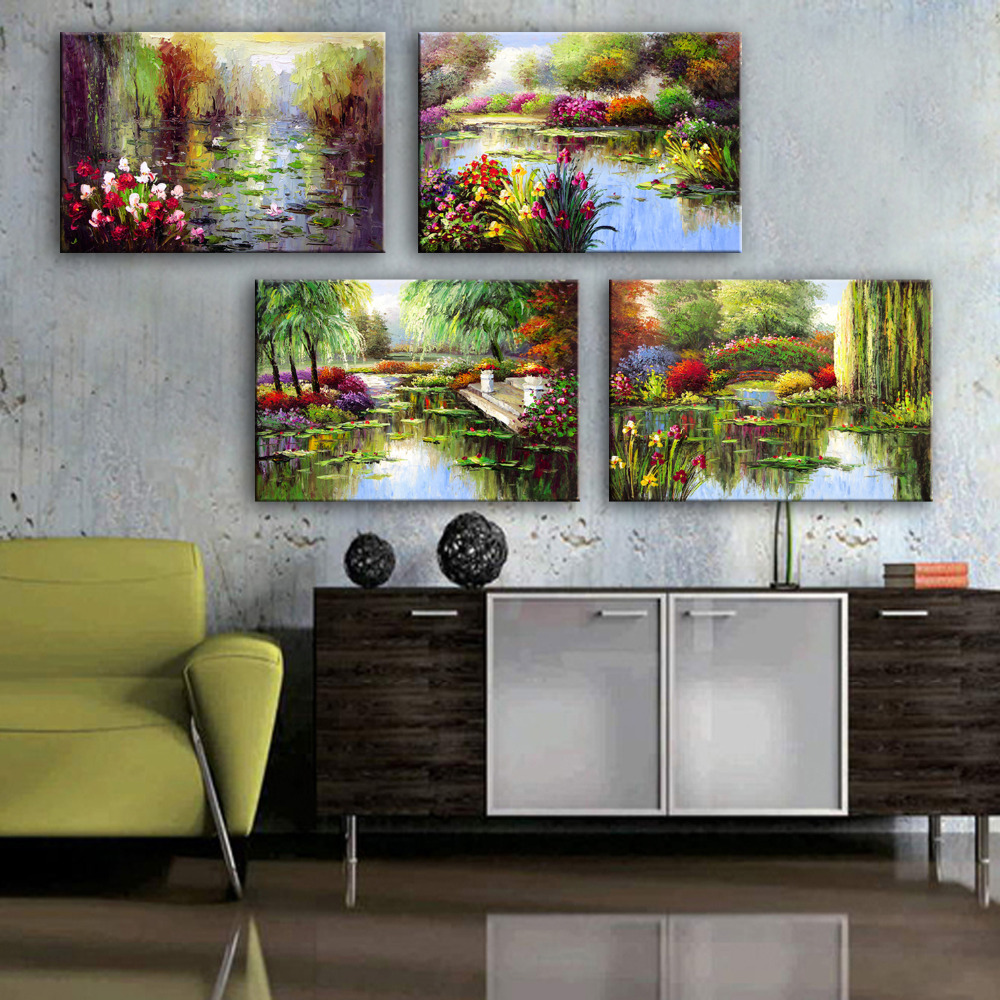 online get cheap garden oil painting aliexpress com alibaba group mini size free shipping hand painted oil painting garden pond decoration painting one pcs home decor