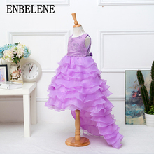 2017 baby girls elegant train lace dresses for children purple little kids long tail evening gown party wedding christmas FH147