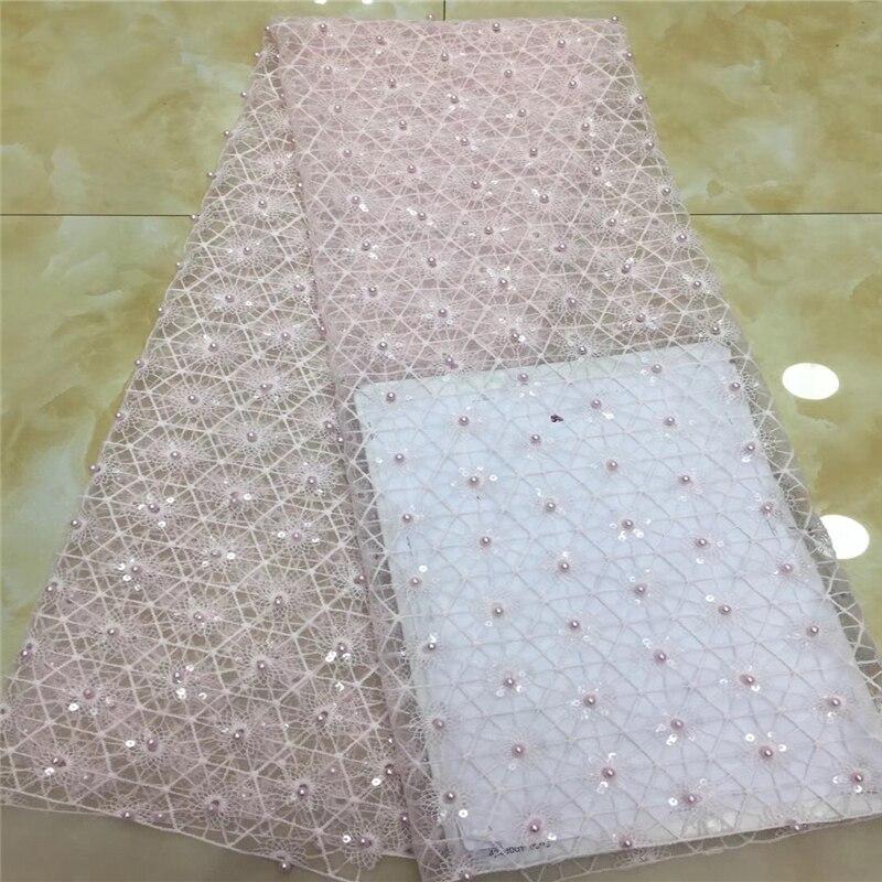 VILLIEA Glittery nigeriano de alta calidad encaje de boda africano tela de encaje Dubai nupcial tul neto francés Cordón de tela de 5 yardas