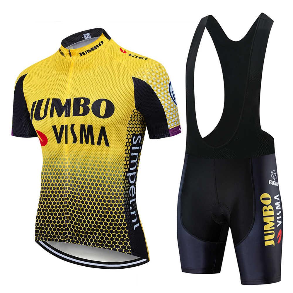 2019 Pro Team Jumbo Visma kolarstwo zestaw koszulek męski strój kolarski MTB Racing Ropa Ciclismo lato Hombre Roupa odzież rowerowa