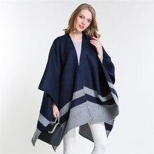 [SUMEIKE] 2017 New Brand Womens Winter Poncho Blanket Warm Lady Knit Shawl Cape Cashmere Scarf High Quality