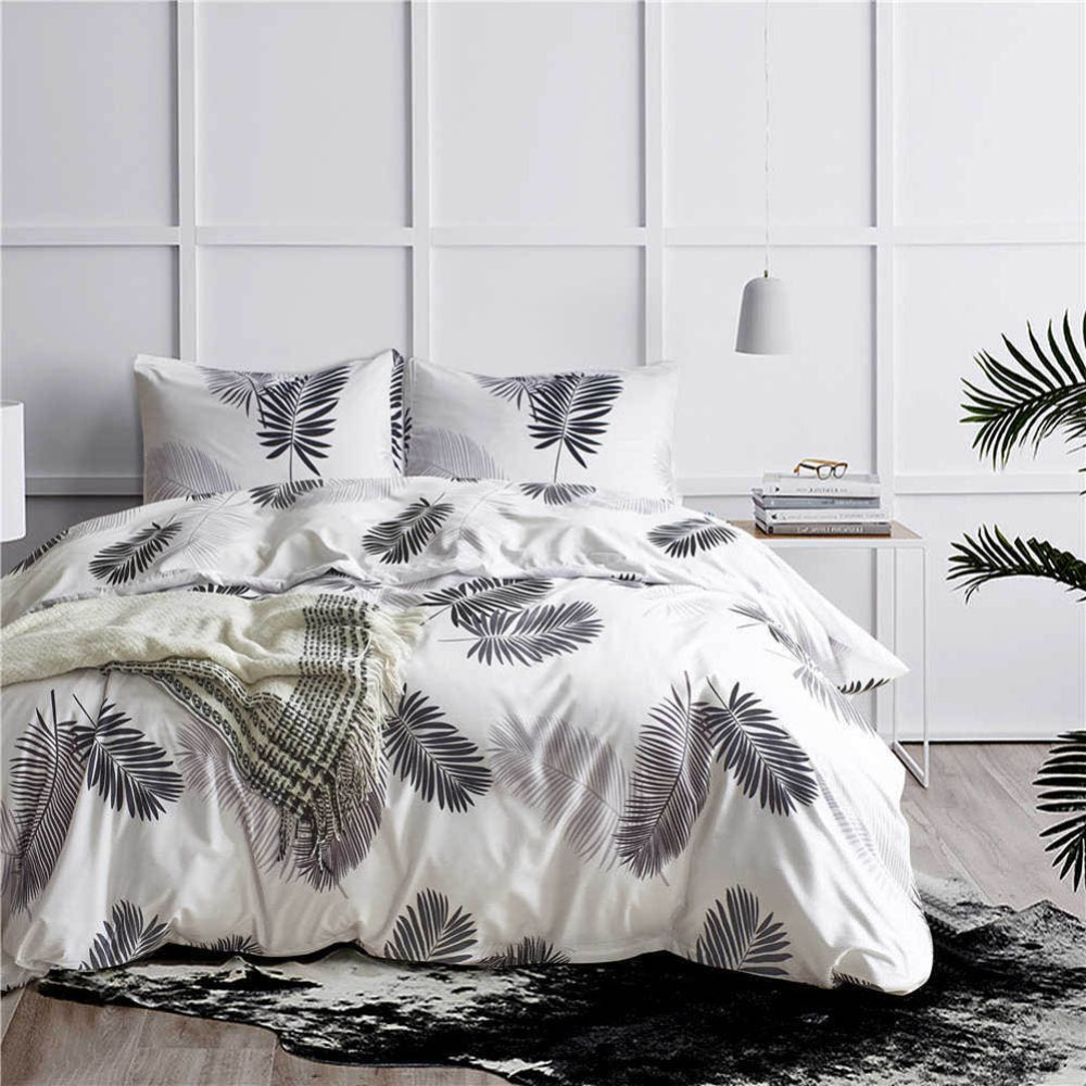 3pcs King Size Lover Bedding Sets Banana leaf Family Bed Set Include Duvet Cover Pillowcase Feather Design Gift Drop-Shipping