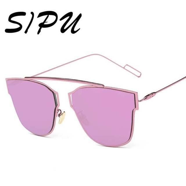 ea1c5df1156 SIPU New Ladies Big Cat Eye Sunglasses Brand Designer Metal Frame  Sunglasses Women Vintage Retro Mirror