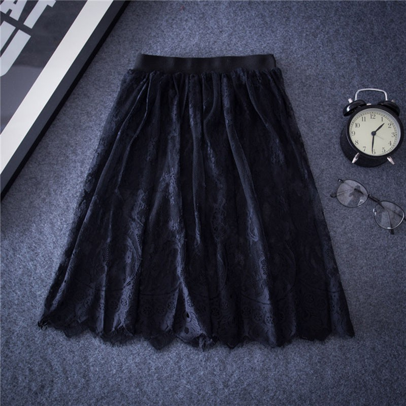 Women Casual Mesh Tulle Skirt Summer Elegant Women Sexy Lace Skirts Hollow Out Short Pencil Black White Skirt