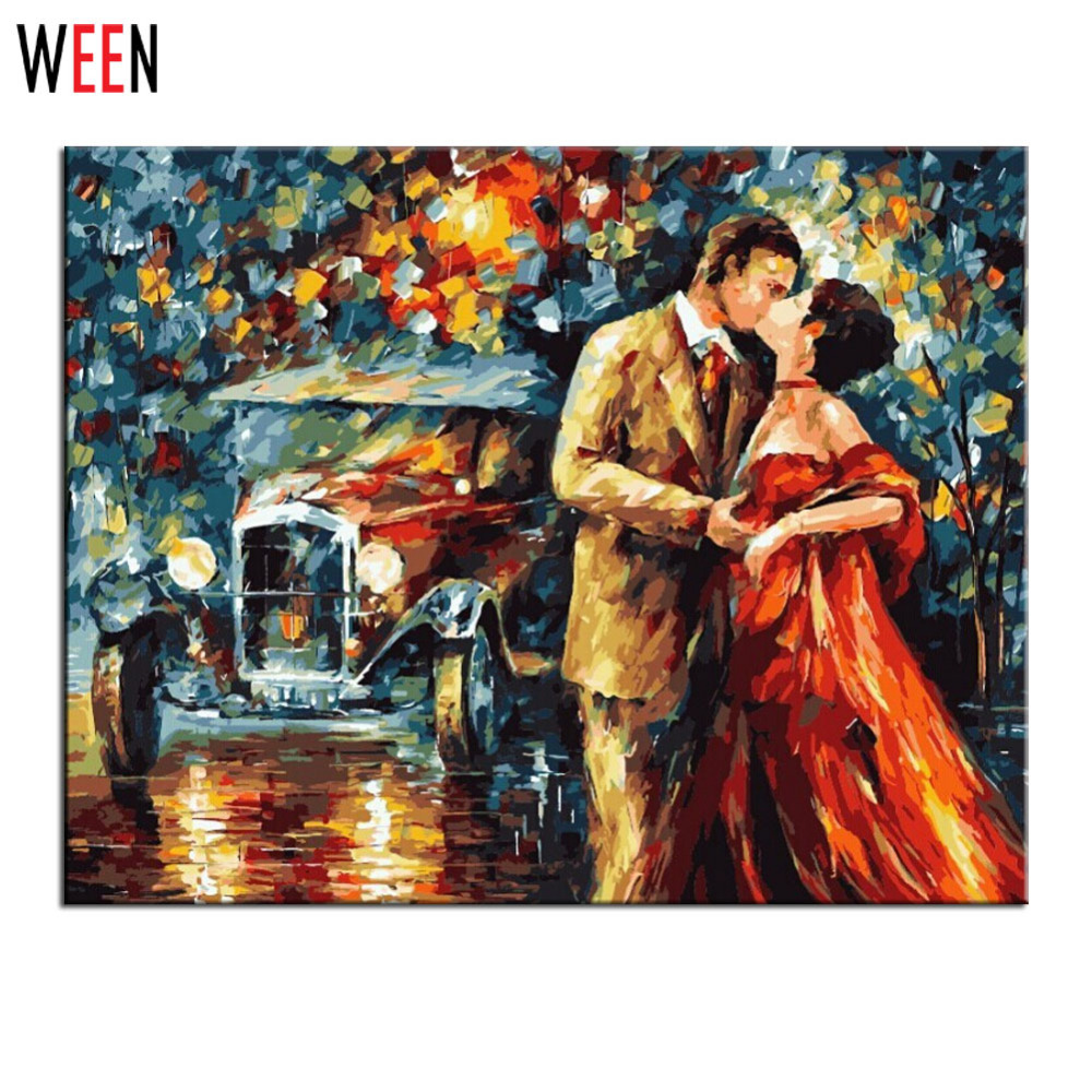 WEEN DIY Digital Kiss Lovers Oil Paintings By Number On Canvas Art Home Decoraction Drawing Wall Picture By Nummber 2017 New in Painting Calligraphy from Home Garden