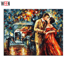 Canvas Art Home Decoraction Kissing Lover Wall Picture DIY Digital Oil Painting By The Nummber Decorative Frameless